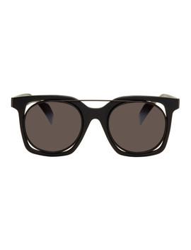 Black Square Wire Frame Sunglasses by Yohji Yamamoto
