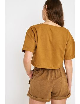Uo Leo Sand Cropped Button Through Blouse by Urban Outfitters