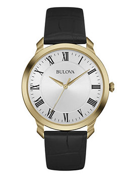 Men's Black Leather Strap Watch 41mm 97 A123 by Bulova