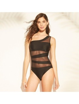 Women's One Shoulder Mesh Inset One Piece Swimsuit   Shade & Shore™ Black by Shade & Shore