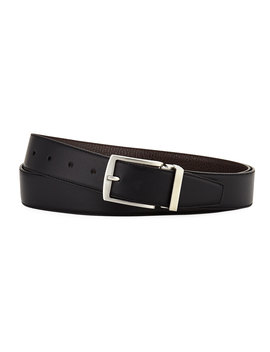 Dual Textured Leather Belt by Giorgio Armani
