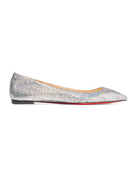 Ballalla Iridescent Glittered Leather Point Toe Flats by Christian Louboutin