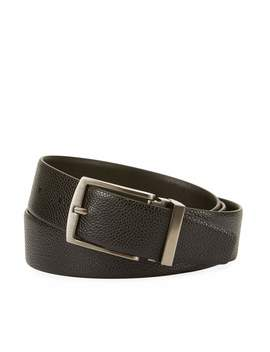 Grained Calf Leather Belt, Black by Giorgio Armani