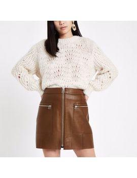 Brown Zip Pocket Biker Mini Skirt by River Island