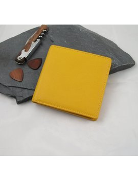 Yellow Leather Billfold Wallet, Yellow Fair Trade Wallet, Yellow Leather Bi Fold Wallet, Yellow Leather Wallet, Bi Fold Yellow Wallet by Etsy