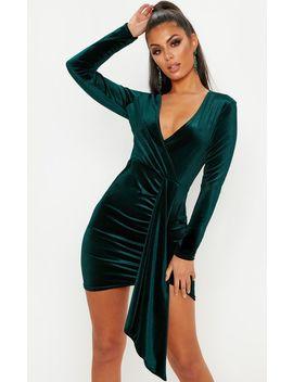 Emerald Green Velvet Drape Detail Bodycon Dress by Prettylittlething