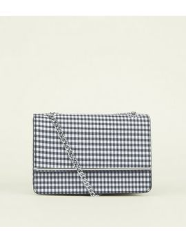 Black Gingham Chain Strap Shoulder Bag by New Look