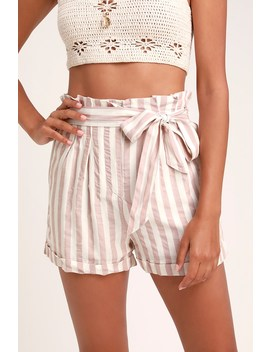 Ciara Mauve Striped Paper Bag Waist Shorts by Lulus