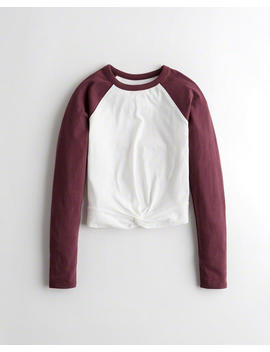 Knot Front Raglan T Shirt by Hollister