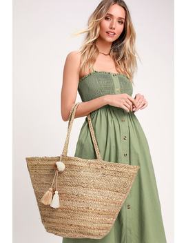 Beachcomb Beige And Gold Woven Tote by Lulus