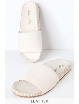 Sanford White Leather Espadrille Slide Sandals by Splendid