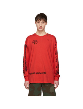 Red Diag Stencil Long Sleeve T Shirt by Off White