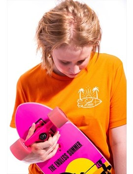 Short Sleeved Tshirt In Orange With Surf Squad Graphic Print by Junkbox Apparel