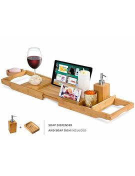 Expandable Bamboo Bathtub Caddy   Adjustable Wooden Serving Tray And Organizer For Any Size Bath Tub   Water Resistant   Phone And Tablet Compartments by Comfy Sure