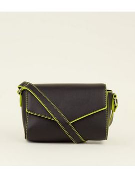Black Neon Trim Cross Body Bag by New Look