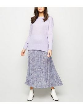 Lilac Snake Print Pleated Midi Skirt by New Look