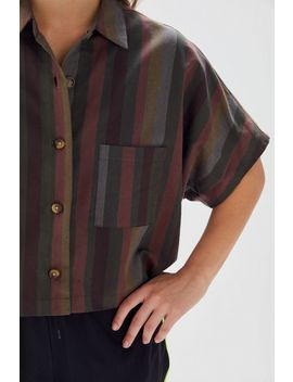 Urban Renewal Remnants Striped Boxy Button Front Shirt by Urban Renewal