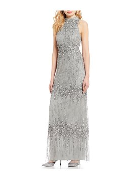 Petite Size Beaded Halter Sleeveless Column Gown by Adrianna Papell