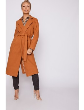 Emily Shak Camel Tie Waist Longline Wool Coat by In The Style