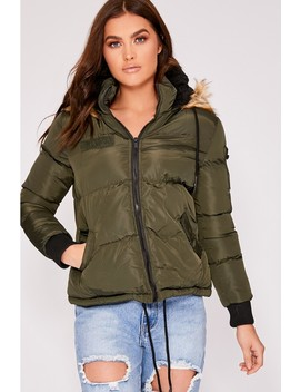 Harlee Khaki Padded Jacket With Fur Hood by In The Style