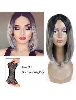 Short Wig Cosplay Wigs For Women Ombre Hair Silver Gray Synthetic Wigs Black To Grey Bob Straight Middle Part Full Head Wigs Heat Resistant (12 Inch 1 B/Grey) by Feelgrace
