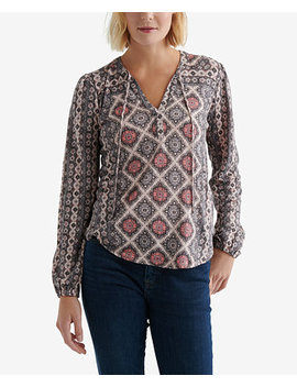 Graphic Print Peasant Top by Lucky Brand