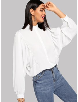 Stand Collar Solid Buttoned Shirt by Shein