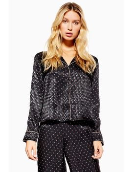 Black Satin Tile Jacquard Shirt by Topshop