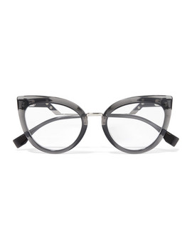 Cat Eye Acetate And Silver Tone Optical Glasses by Fendi