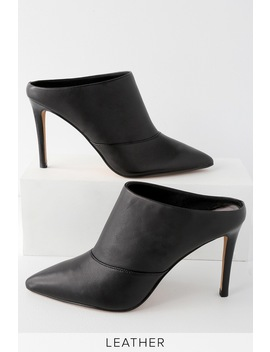 Cinda Black Leather Pointed Toe Mules by Dolce Vita