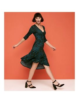 Principles   Green Leopard Print Wrap And Roll Effect Knee Length Dress by Principles
