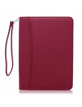 Junior Zippered Business Padfolio With Notepad   Burgundy Pu Leather Portfolio Binder & Organizer Folder With 8 Inch Tablet Sleeve By Lautus Designs by Lautus Designs