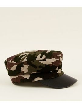 Khaki Camo And Leather Look Baker Boy Hat by New Look