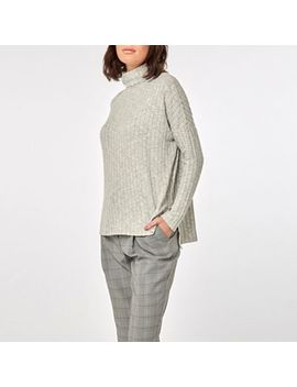 Dorothy Perkins   Grey Long Sleeve Brushed Roll Neck Top by Dorothy Perkins