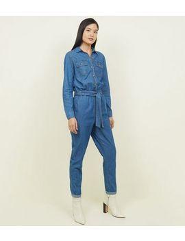 Blue Denim Belted Boiler Jumpsuit by New Look