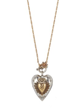 Long Heart Locket Swarovski Crystal Pendant Necklace by Alexander Mc Queen