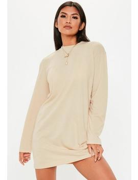 Robe Courte à Manches Longues Crème Col Rond by Missguided