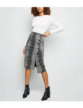 Light Grey Snake Print Button Side Pencil Skirt by New Look