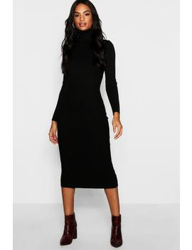 Tall Roll Neck Rib Knit Dress by Boohoo