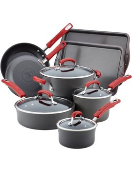 Rachael Ray Hard Anodized Nonstick 12 Piece Cookware Set, Grey With Red Handles by Rachael Ray