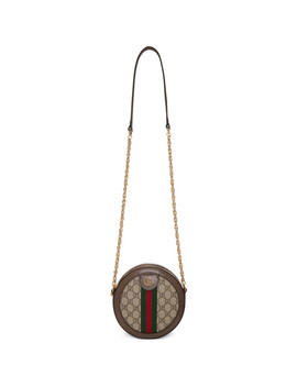Beige Gg Supreme Round Ophidia Shoulder Bag by Gucci