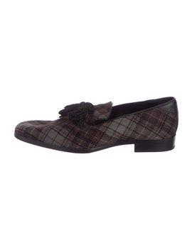 Ponyhair Plaid Tassel Loafers by Jimmy Choo