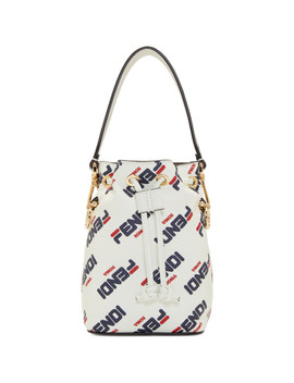 White 'fendi Mania' Mini 'mon Trésor' Bucket Bag by Fendi