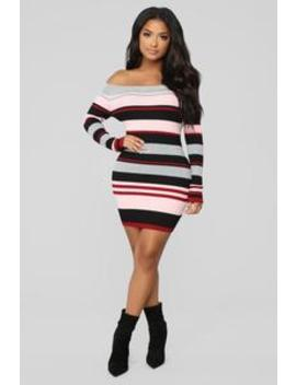 Happy For You Sweater Mini Dress   Mauve/Combo by Fashion Nova