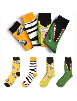 7 Colors Women Happy Socks High Quality  Combed Cotton Flamingo/Crocodile/Zebra Animals Funny Casual Sock 1 Pairs by Ali Express