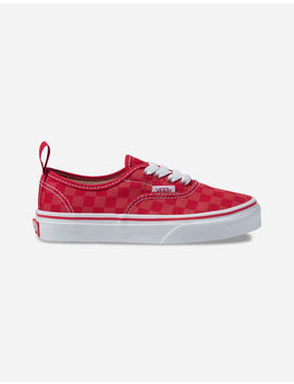 Vans Checkerboard Authentic Elastic Lace Tango Red Boys Shoes by Vans