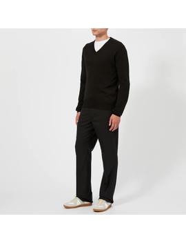 Maison Margiela Men's Gauge 14 Jersey V Neck Elbow Patches Decortique Jumper   Black by Maison Margiela