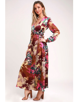 Put On A Smile Burgundy Floral Print Satin Wrap Maxi Dress by Lulus