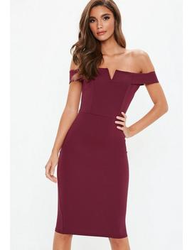 Purple V Front Bardot Midi Dress by Missguided