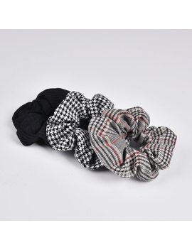 New Arrial Vintage Black & White Check Ponytail Holder Scrunchies Ring Elastic Hair Tie For Women & Girl Hair Accessoires by Qi Arsoyoo